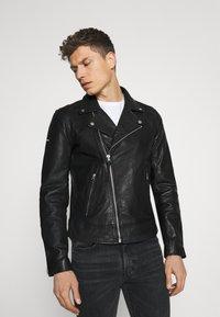 Superdry - MOTO BIKER - Leather jacket - black - 0