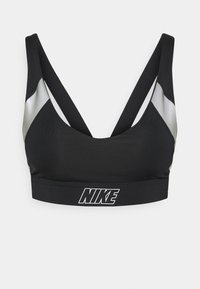 INDY METALLIC LOGO BRA - Light support sports bra - black/metallic silver/light smoke grey