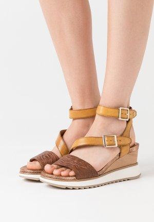 Platform sandals - saffron/nut