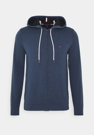 TIPPED DOUBLE FACE ZIP HOODIE - Cardigan - faded indigo