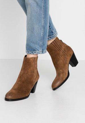 Cowboy/biker ankle boot - castagno