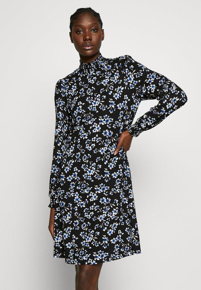 FLORAL SHIRRED CUFF SWING DRESS - Day dress - black