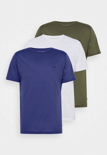 3 PACK - T-shirts - khaki/navy/white