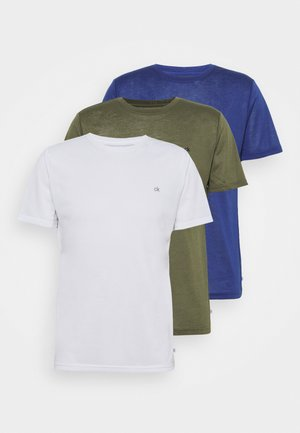 3 PACK - Basic T-shirt - khaki/navy/white