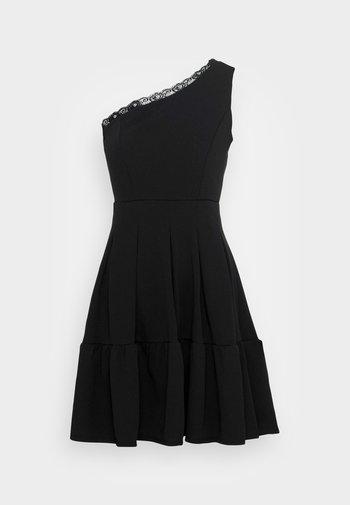 JANINE LACE TRIM SKATER DRESS - Vestito elegante - black
