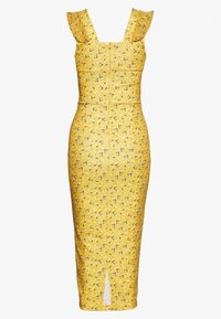 WAL G. - FRILL PRINT MIDI DRESS - Etuikleid - yellow