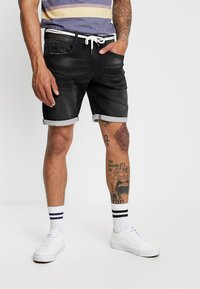Redefined Rebel - SYDNEY TERRY - Denim shorts - marble black - 0
