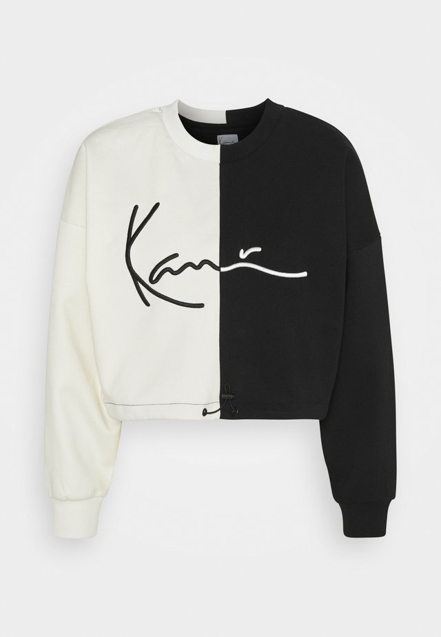 SIGNATURE CROPPED BLOCK CREW - Sweatshirt - off white