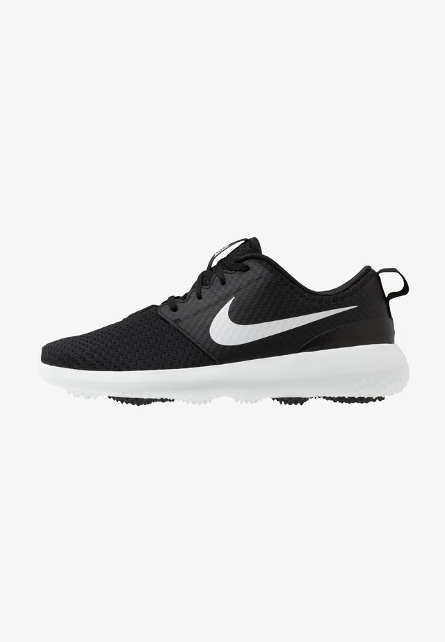 ROSHE G - Golf shoes - black/metallic white/white