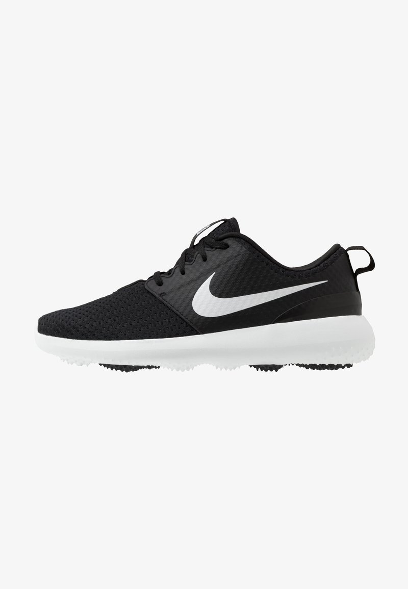Nike Golf - ROSHE G - Obuwie do golfa - black/metallic white/white