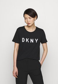 DKNY - SEQUIN LOGO - T-shirts print - black/white - 0