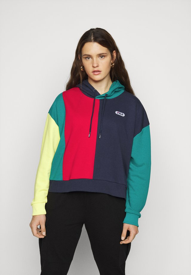 BAYOU BLOCKED HOODY - Bluza z kapturem - black iris/true red/teal green/aurora