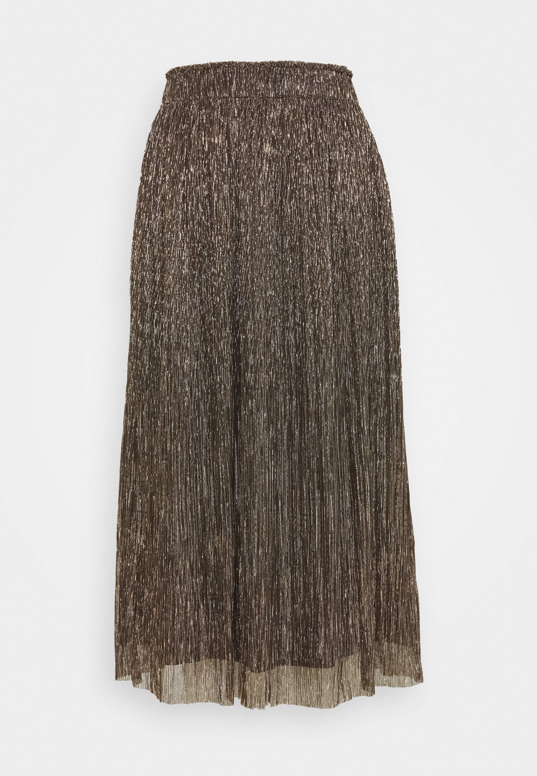 Women METALLIC CRINKLE MIDI SKIRT - A-line skirt