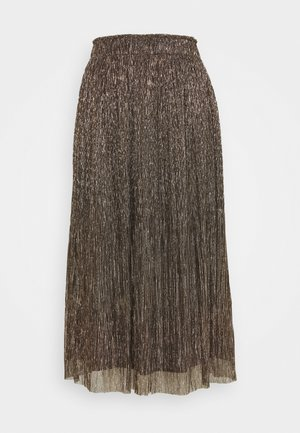 METALLIC CRINKLE MIDI SKIRT - A-line skirt - gold metallic