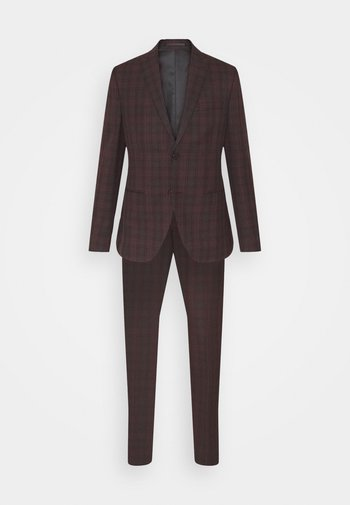 SINGLE BREASTED TARTEN SUIT SET - Suit - red