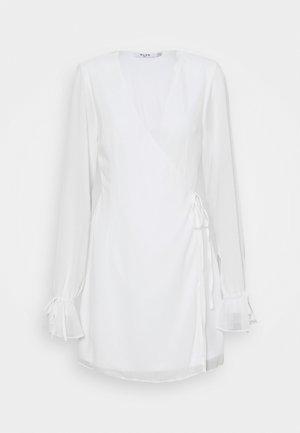 TIE STRAP OVERLAP MINI DRESS - Day dress - white