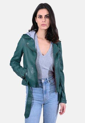 PIXEL - Leren jas - dark green