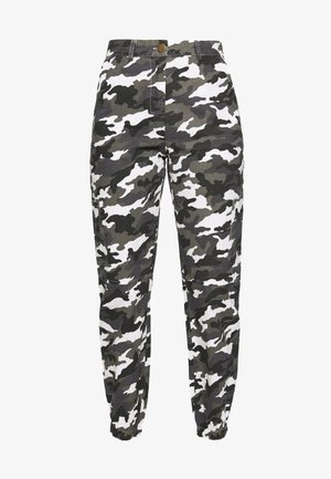 HIGH WAISTED CAMO CARGO TROUSERS - Trousers - grey
