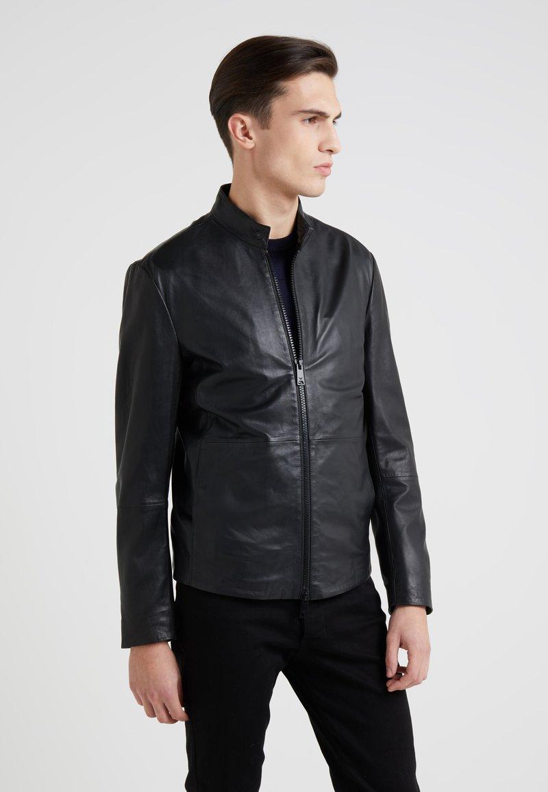 Emporio Armani - CABAN COAT - Kožená bunda - black
