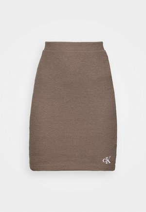 SLUB MINI SKIRT - Spódnica ołówkowa  - dusty brown