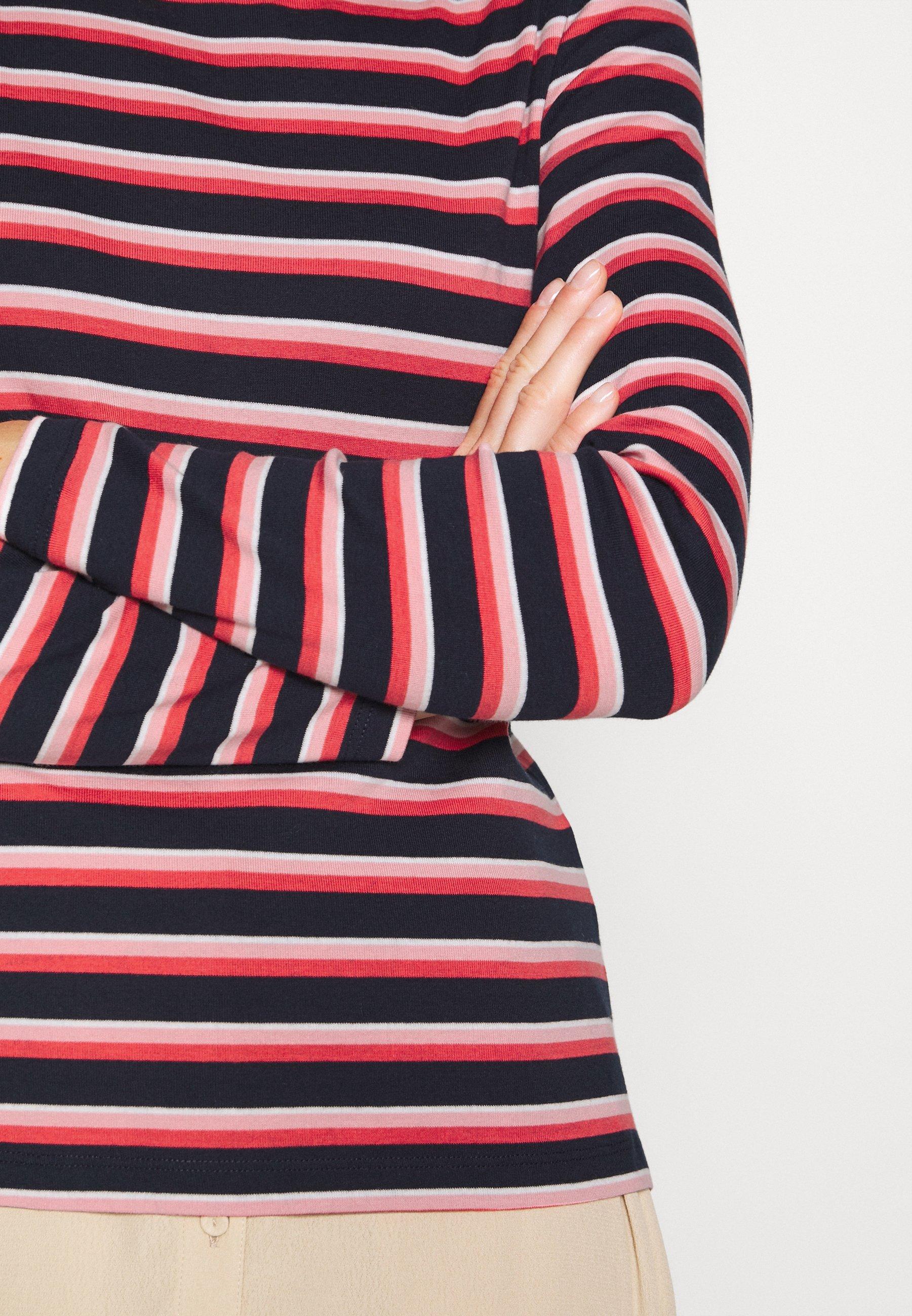 Tom Tailor Striped Crew Neck - Topper Langermet Navy/red/multicolor/mørkeblå