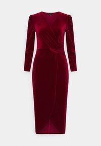 Miss Selfridge - VELVET WRAP MIDI DRESS - Cocktail dress / Party dress - red - 0
