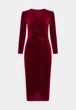 VELVET WRAP MIDI DRESS - Cocktail dress / Party dress - red