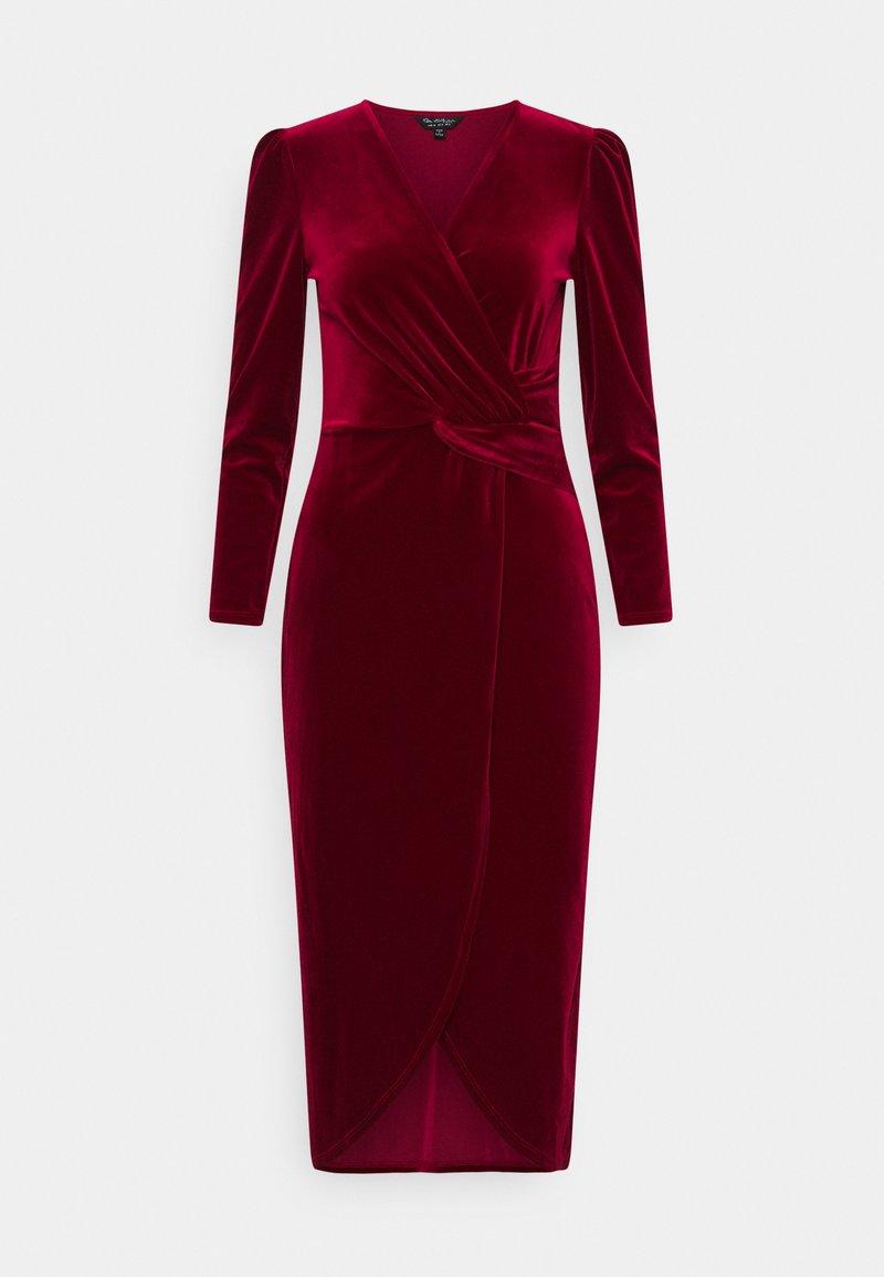 Miss Selfridge - VELVET WRAP MIDI DRESS - Cocktail dress / Party dress - red