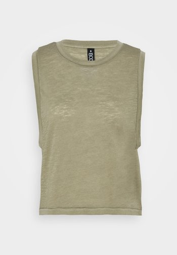 ALL THINGS FABULOUS CROPPED MUSCLE TANK - Topper - oregano washed