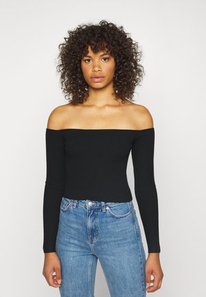 SQUARE NECK CROPPED JUMPER - Trui - black