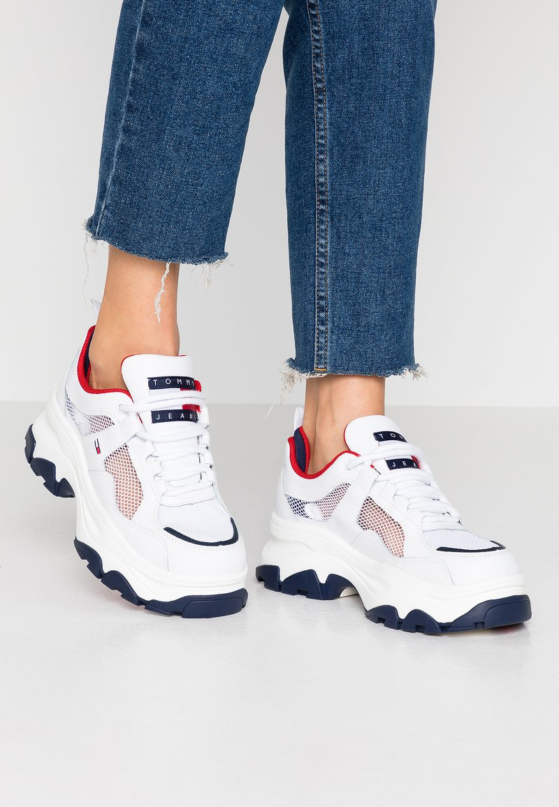 Tommy Jeans - RECYCLED FLATFORM SHOE - Trainers - red/white/blue