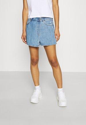 ASYM MOM SKORT - Mini skirt - medium bright indigo