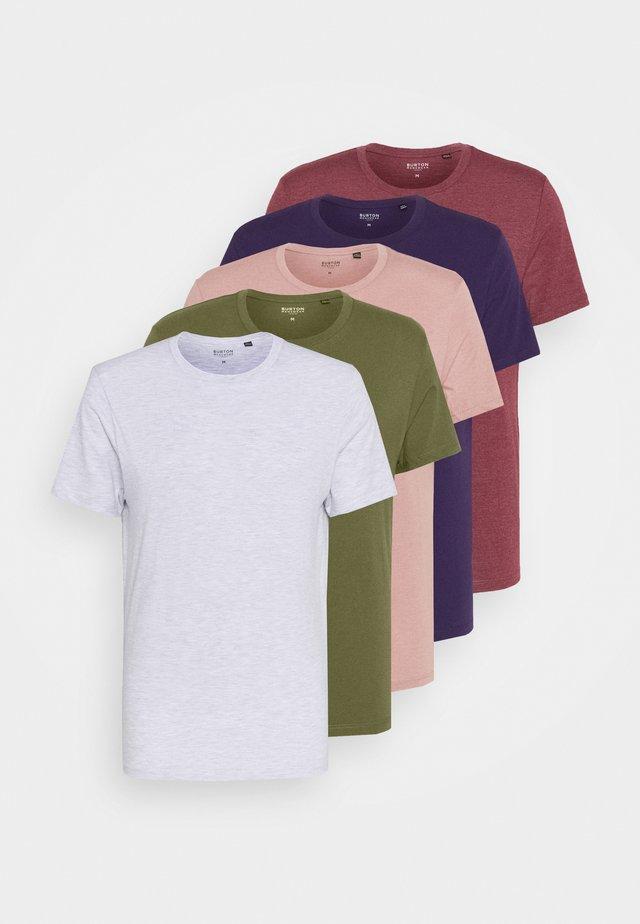 5 PACK - Basic T-shirt - frost marl/lilac marl/khaki/burg marl/blackcurrant