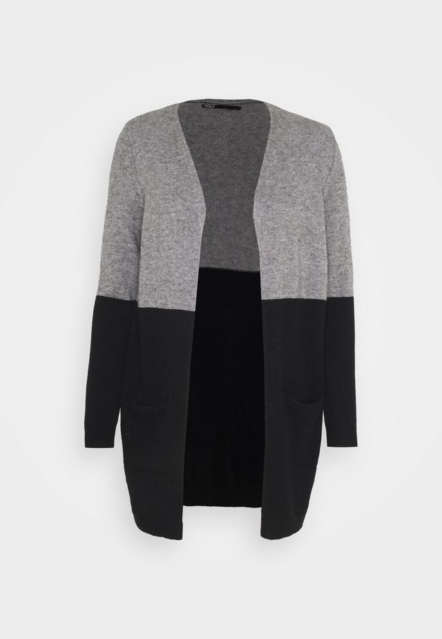 ONLQUEEN LONG CARDIGAN - Cardigan - medium grey melange/black