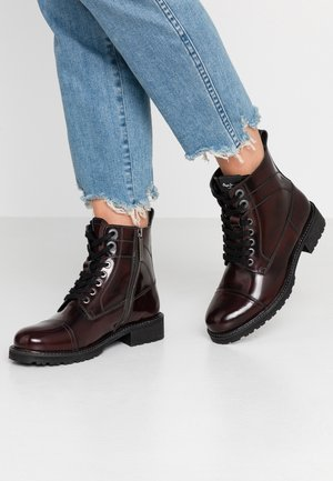 MELTING BASS - Lace-up ankle boots - burgundy