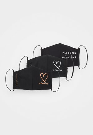 HEART LOGO 3 PACK - Stoffen mondkapje - black