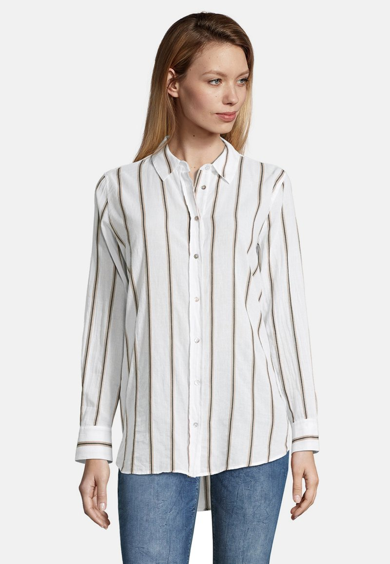 Cartoon - MIT KRAGEN - Button-down blouse - white/grey