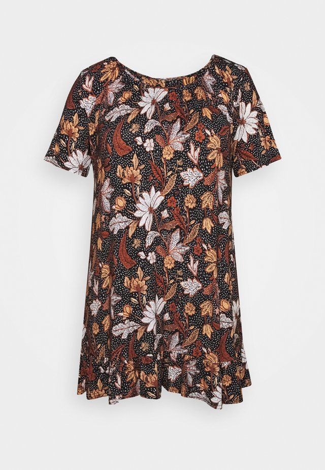 FLORAL FRILL SHORT SLEEVE TUNIC - T-shirts med print - multi-coloured
