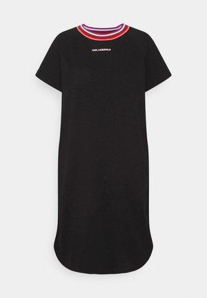 STRIPE RIB T-SHIRT DRESS - Vestito estivo - black