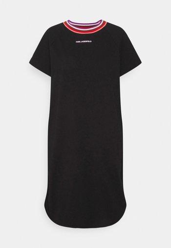 STRIPE RIB T-SHIRT DRESS - Day dress - black
