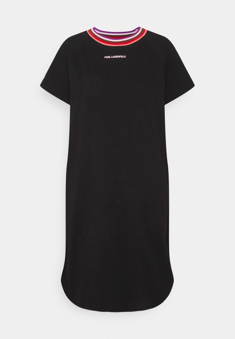 KARL LAGERFELD - STRIPE RIB T-SHIRT DRESS - Day dress - black