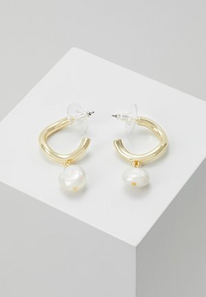 MAXIME OVAL EAR - Earrings - gold-coloured/white