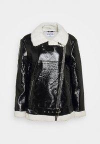 NA-KD - SHINY AVIATOR JACKET - Winter jacket - black/white - 6