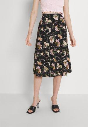 MIDI - A-line skirt - black/flower