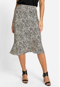 Olsen - MIT LEOPARDENPRINT - A-line skirt - black, beige - 0