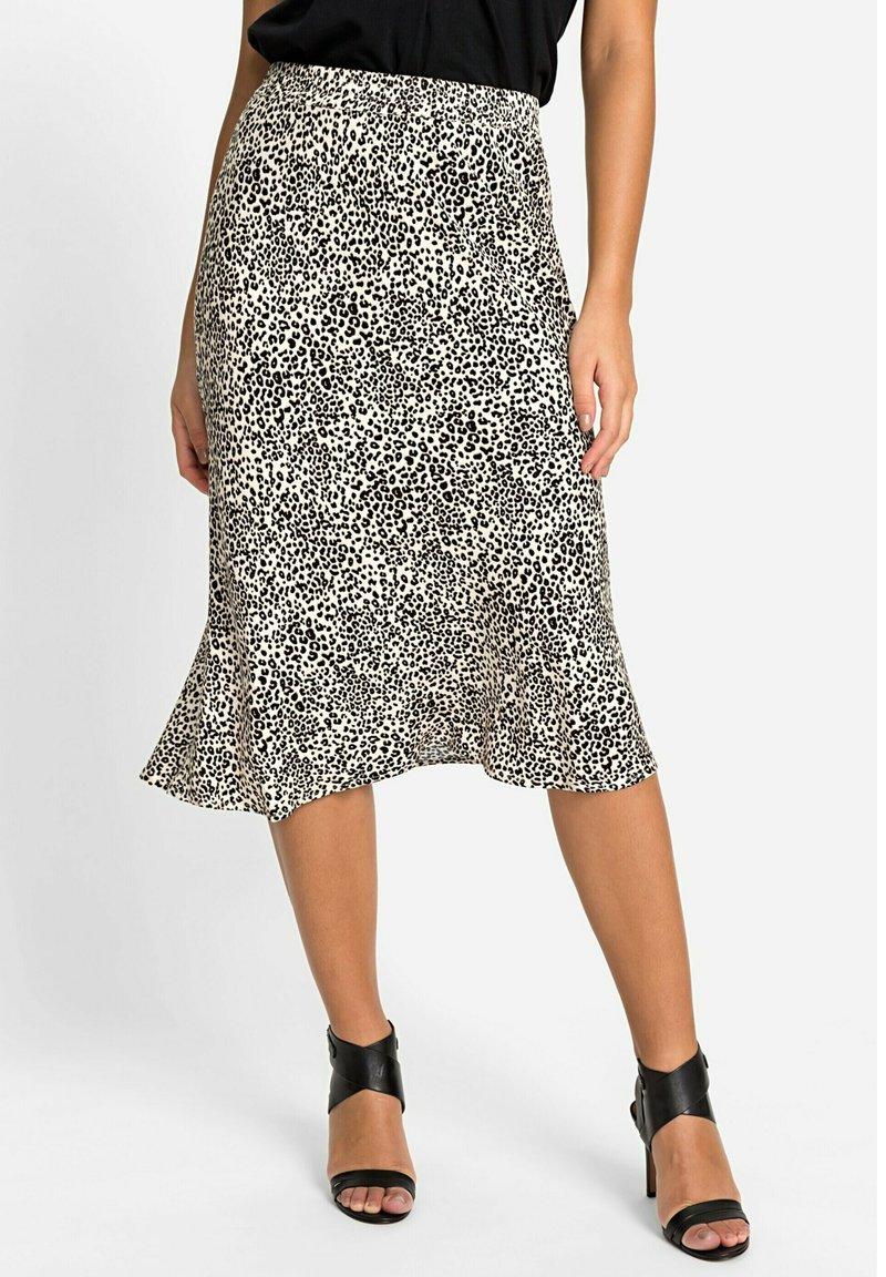 Olsen - MIT LEOPARDENPRINT - A-line skirt - black, beige
