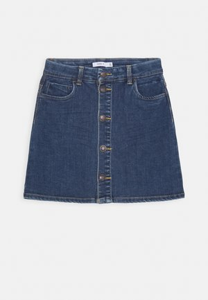 NKFTECOS A SHAPE SKIRT - A-line skirt - dark blue denim