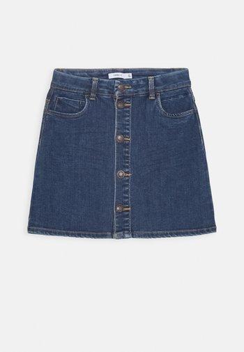 NKFTECOS A SHAPE SKIRT - A-line skirt - dark blue denim