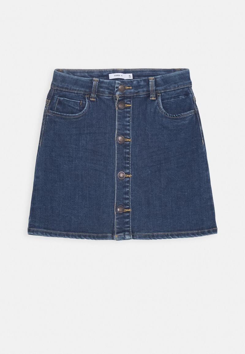 Name it - NKFTECOS A SHAPE SKIRT - A-line skirt - dark blue denim
