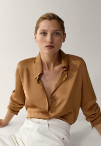 Massimo Dutti - Button-down blouse - gold - 3